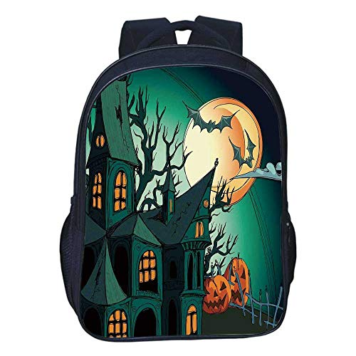 Halloween Decorations Durable Double black backpack,Haunted Medieval Cartoon
