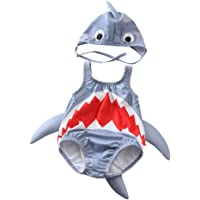 Miccina Baby/Toddlers Boys Girls 3D Cartoon Shark One-Piece Swimsuit with Cap Sun Protection Swimwear Bathing Suit