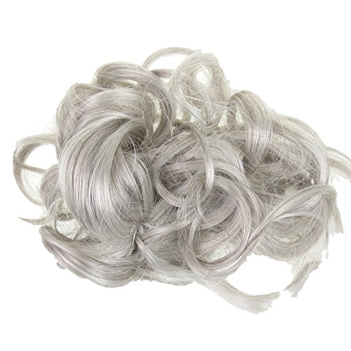 Grey Silver Hair Extension Scrunchie Updo Down Do Topper