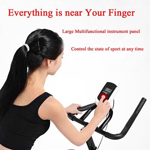 Homgrace Indoor Cycling Training Exercise Bike, Cycle bike, Stationary Bike, 33lb Flywheel with Adjustable Friction Resistance (White)