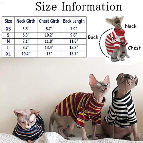 Bonaweite Hairless Cats Stripe T-Shirt, Breathable Cat Wear Clothes Vest Shirts for Sphynx, Cornish Rex, Devon Rex, Peterbald 20