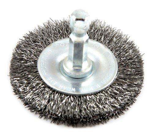 Forney 72728 Wire Wheel Brush, Fine Crimped with 1/4-Inch Hex Shank, - Brush Wheel Wire Fine