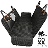 4-in-1 Dog Car Seat Cover, TOPELEK Convertible Dog Hammock Scratchproof Pet Car Seat Cover with Mesh Window 2 Seat Belts , Durable Nonslip Dog Seat Cover for Back Seat Protector for Cars Trucks SUVs
