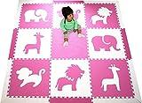 "SoftTiles Safari Animals Premium Interlocking Foam Mat Large Children's Playmat Pink and White 78"" x 78"""