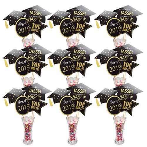 Graduation Centerpiece Sticks 2019 Graduation Decorations Great to Decorate Graduation Table A Big Hit on 2019 Graduation Party Black & Gold - 36 Packs