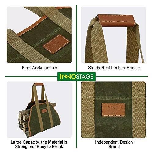 INNO STAGE Waxed Canvas Log Carrier Tote Bag,40''X19'' Firewood Holder,Fireplace Wood Stove Accessories by INNO STAGE (Image #5)