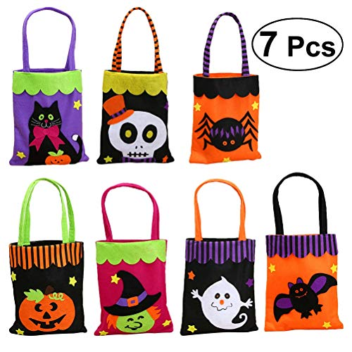 7 Pcs Halloween Non - Woven Fabric Candy Trick Or Treat Bags Tote Bag Portable Handheld Ghost Festival Decorations Kids -