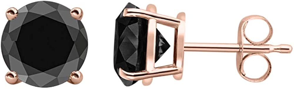 tusakha 4.80 CT Round Cut Black Diamond Solitaire Stud Earrings 14K Rose Gold Over .925 Sterling Silver 10MM