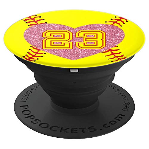 23 Softball Number Rose Pink Heart Gift Lucky #23 - Softball - PopSockets Grip and Stand for Phones and Tablets ()