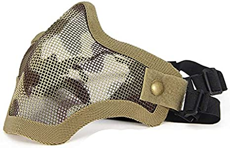 Masque Tactique en Acier de Masque Demi-Masque de Protection pour Airsoft Paintball Cosplay QMFIVE Airsoft Demi Visage Masque