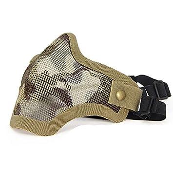 Máscara de Airsoft QMFIVE Malla de Acero Táctico Mascaras Mascara de Media Cara el Engranaje Protector para Airsoft Paintball(Camuflaje de Desierto): ...
