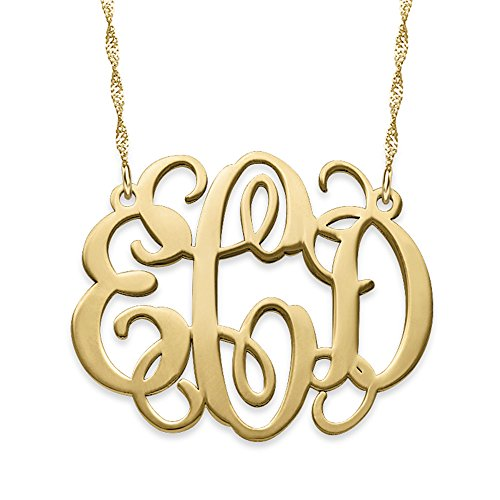 14k Solid Yellow Gold Fancy Monogram Necklace - Custom Made Pendant with any Initials by My Name Necklace