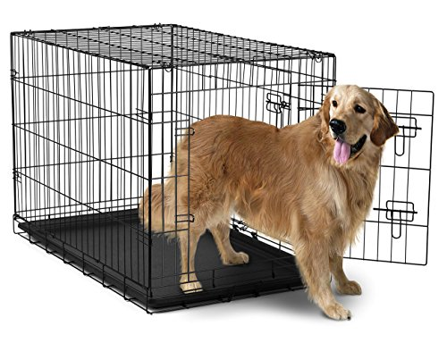 42'' Dog Crate 2 Door w/Divide w/Tray Fold Metal Pet Cage Kennel House for Animal by BestPet (Image #1)