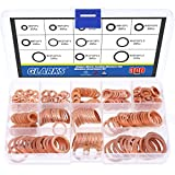Glarks 300Pcs Metric Flat Ring Copper Sealing Washers Assortment Set - 8 Sizes of M6 M8 M10 M12 M14 M16 M18 M20