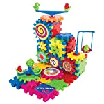 Krazy Gears Gear Building Toy Set – Interlocking Learning Blocks – Motorized Spinning Gears – 81 Piece Playground Edition