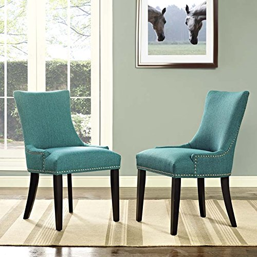 Modway Marquis Modern Elegant Upholstered Fabric Parsons Two Dining Side Chair Set With Nailhead Trim And Wood Legs In Teal Review