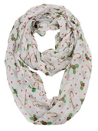 D&Y Christmas Theme Sheer Loop Infinity Scarf, Candy -