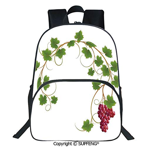 SCOXIXI Square Front Bag Backpack Curved Ivy Branch Deciduous Woody Wines Seed Clusters Cabernet Kitchen (15.75