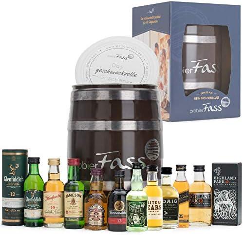 Probierfass Geschenk Für Männer 10 X 005l Whisky Probierset Im Fass Mit Geschenkkarton Geburtstagsgeschenk Für Männer Vatertagsgeschenk 50