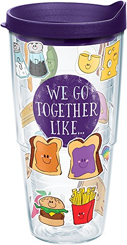 Tervis 1248532 We Go Together Like Tumbler with Wrap and Royal Purple Lid 24oz, Clear]()