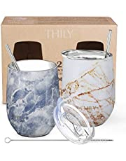 Stainless Steel Stemless Wine Tumblers - THILY Vacuum Insulated Cute Travel Glasses Cup with Lid and Straw, Keep Hot or Cold for Wine, Coffee, Beer, Juice, 2 Pack(Gold Marble + Blue Marble)