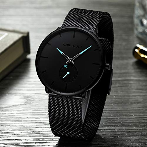 Mens Watch Deep Blue/Black Ultra Thin Wrist Watches for Men Fashion Waterproof Dress Stainless Steel Band/Leather Strap
