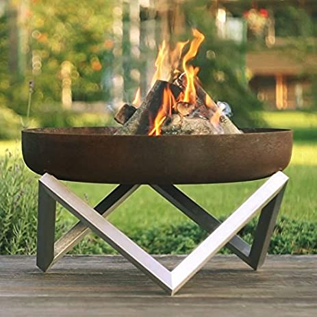 Rust & Stainless Steel Modern Outdoor Patio Fire Pit MEMEL (Medium) - Amazon.com : Rust & Stainless Steel Modern Outdoor Patio Fire Pit