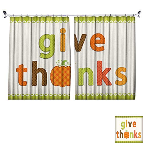 (DragonBuildingMaterials Decor Curtains by Thanksgiving Retro Applique of Fabric Gingham Letters and Cute Pumpkin in Autumn Colors W63 x)