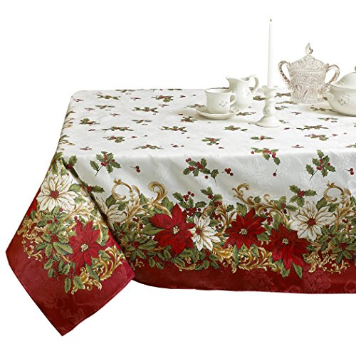 - Violet Linen Decorative European Blossom Christmas Tablecloth, Poinsettia & Holly Berry Print - 60