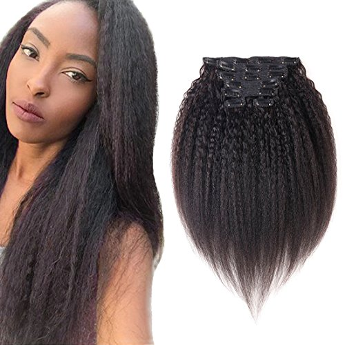 Yaki Clip ins Kinky Straight Human Hair Extensions Black Double Weft Brazilian Unprocessed Virgin Hair Clip ins Top Grade 7A 7Peices/set for American Black Women (100g 12