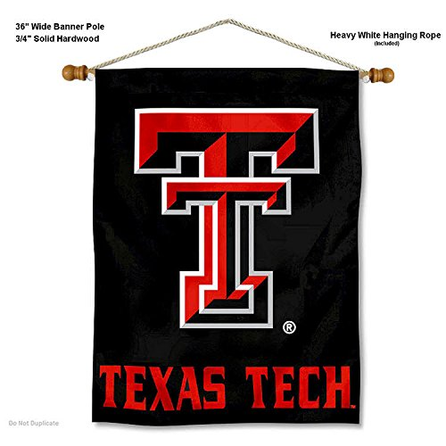 College Flags and Banners Co. Texas Tech Red Raiders Banner with Hanging Pole