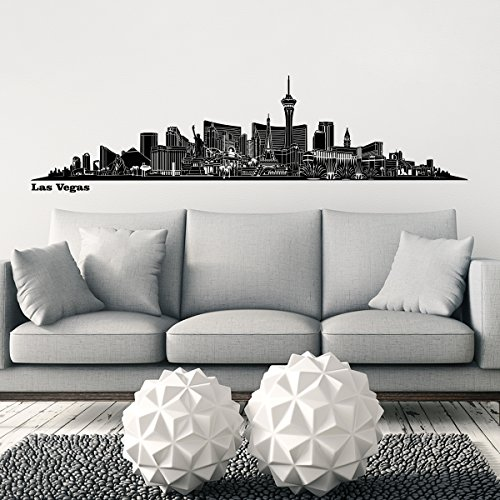 - Wandkings® Skyline wall sticker wall decal - 46.9 x 11.4 inch in black - LAS VEGAS