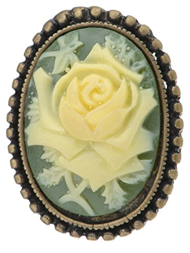 Alilang Antique Golden Tone Vintage Green Cameo White Floral Rose Brooch Pin