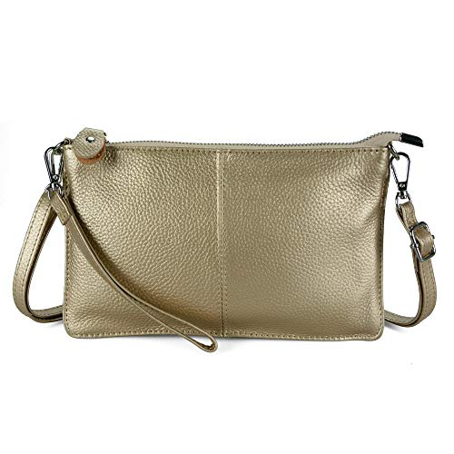 Befen Women's Leather Wristlet Clutch Phone Wallet Small Crossbody Purses and Hangbag with Card Slots - Light Gold