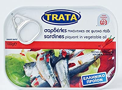Greek Trata Canned Sardeles From the Aegean Sea Sardines Piquant in Vegetable Oil 100g