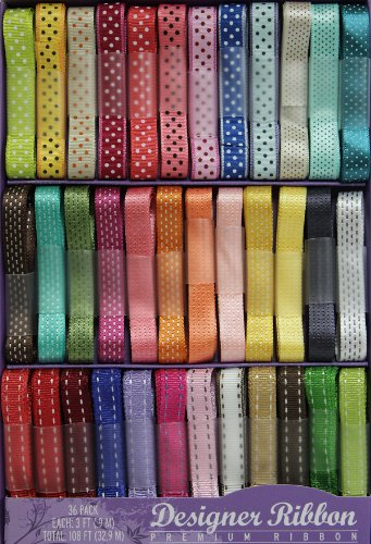 Designer Ribbon Value Pack - 36 Colors - 1 Yard Each - Pretty Prints & Patterns