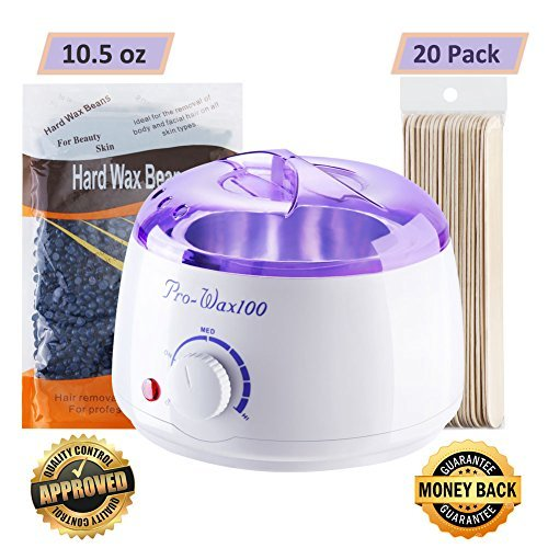 Waxing Kit Temperature Control Wax Warmer Hair Removal Electric Hot heater, Rapid Melting Pot with 10.5 oz Flavor Hard Wax Beans and 20 Pack Wax Applicator ()