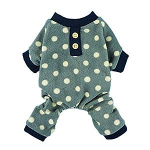 Fitwarm Adorable Polka Dots Fleece Dog Pajamas Pet Coats Soft Pjs Apparel, Large