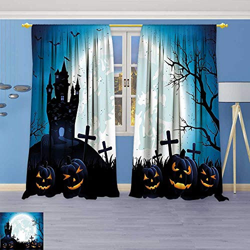 Philiphome Room Darkening Curtains,Spooky Concept with Halloween Icons Old Celtic Harvest Festival Figures in Dark Image,Print Blackout Drapes for Living Room Window Treatment Panels