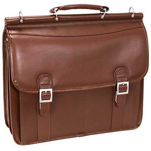 McKleinUSA Halsted 80334 V Series Full Grain Oil Tanned Leather Double Compartment Laptop Case (Brown) (Brief Rolling Deluxe Computer)