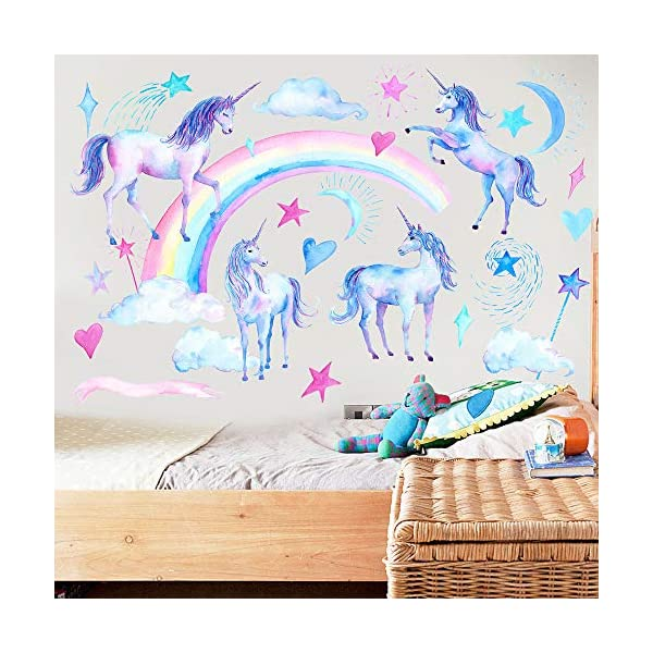 HAOLEJIA Beautiful Kids' Bedroom Unicorn Wall Sticker Decal,3D Art Decal Sticker for Child Room Wall Decoration 4