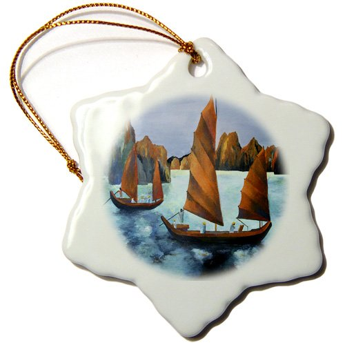orn_46733_1 Taiche - Acrylic Painting - Sailboats - Chinese Junks - blue, boats, chinese junk, realism, red, sailboat, sails - Ornaments - 3 inch Snowflake Porcelain Ornament