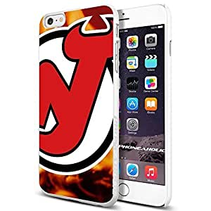NHL HOCKEY New Jersey Devils Frame Logo, , Cool iphone 6 Smartphone Case Cover Collector iphone TPU Rubber Case White [By PhoneAholic]