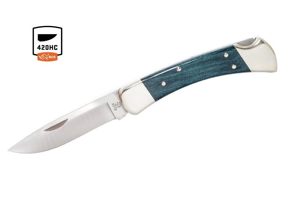 Buck Knives 110 Indigo Blue Nickel Silver Folding Hunter Knife Exclusive 110BLSSH
