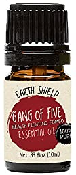 Earth Shield Gang of Five Essential Oil (comparable with Thieves and On Guard) is 100% Pure. Premium Therapeutic Grade - 10ml
