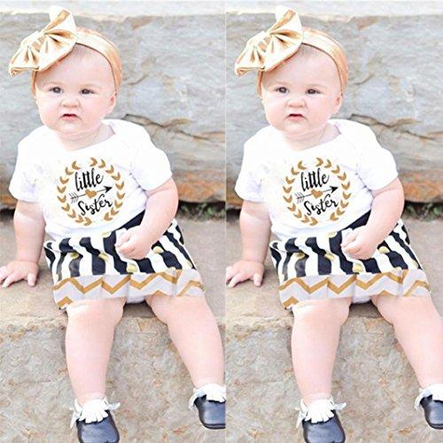 Kleidung Set Mädchen BeautyTop Baby Mädchen Sommer Kleidung Set Kleidung Baby Mädchen kleiderset 2Pcs/Set Baby born Kurzarm tshirt Rompers Overall Tops+Rock Outfits Weiß