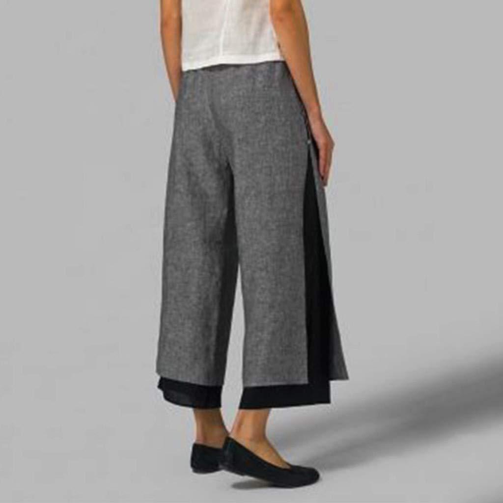 Hanomes Pantalones Pantalones De Lino Para Mujer Anchos De Pierna Pantalones Capri M/ás El Tama/ño De Cintura El/ástica Con Bot/ón De Ajuste Pantalones Anchos Sueltos Ocasionales