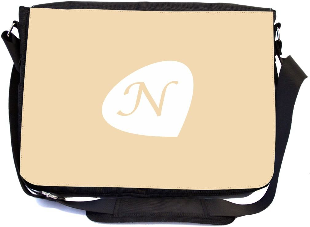 Rikki Knight LetterN Initials Light Beige Twine Color Petal Leaves Design mbcp-cond43566 School Bag