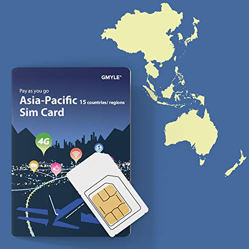 GMYLE Japan, China, Thailand, etc, Prepaid SIM Card, 12GB 28 Days Asia Pacific 17 Countries 4G LTE 3G Travel Data, Top up Anytime and Anywhere (Best Time To Travel To Cambodia And Laos)
