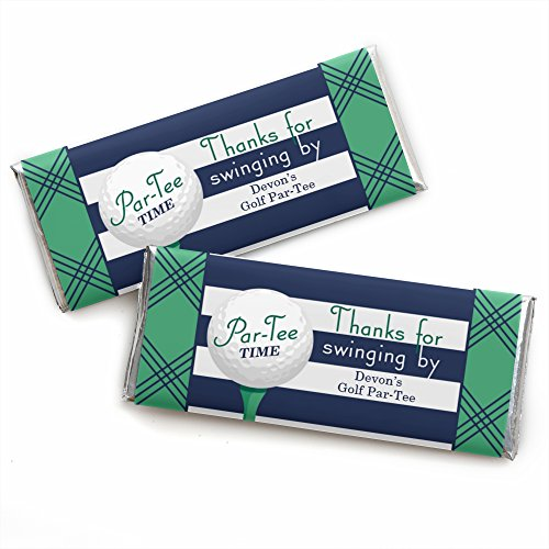 Custom Par-Tee Time - Golf - Personalized Birthday or Retirement Party Favors Candy Bar Wrappers - Set of 24 -